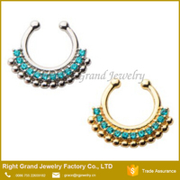 Silver Gold Plated Brass Blue Zircon CZ Faux Septum Nose Ring