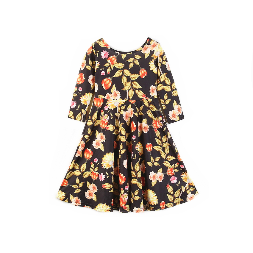 Boutique Baby Girl Dresses Floral Print Long Sleeve Kids Maxi Dresses For Girls