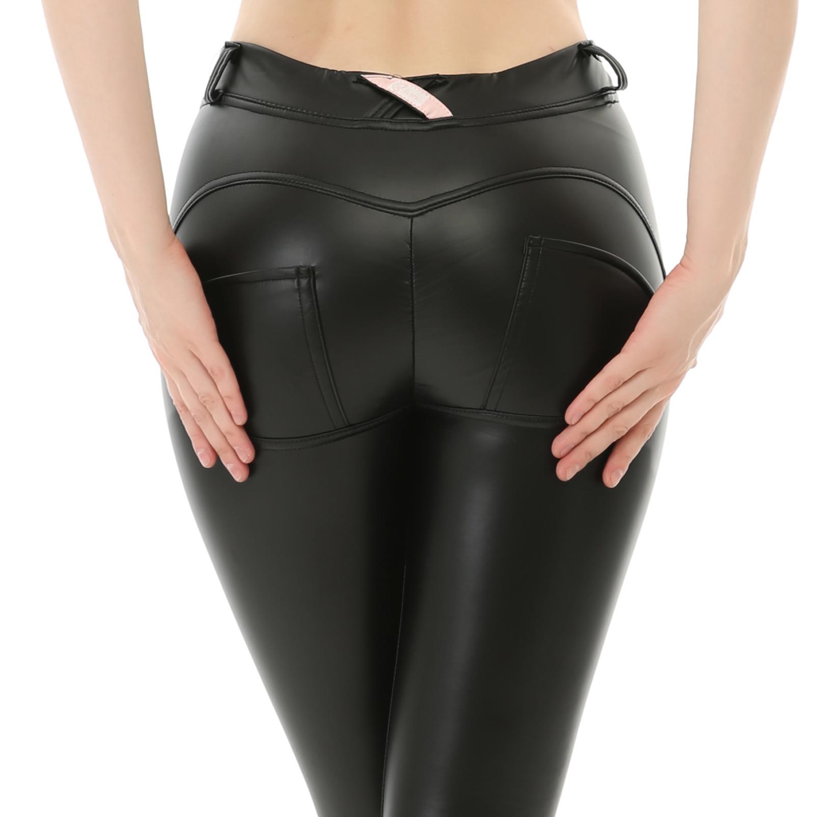 Son tarzı rahat şeftali kalça pu deri yoga pantolon kadın için yüksek streç kalın popo tayt