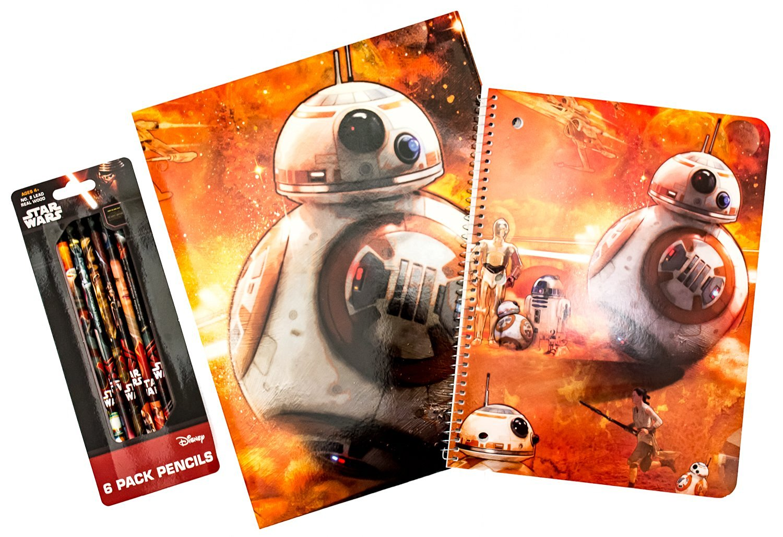Star Wars School Supplies Bundle Featuring BB-8, C-3PO, R2-D2 - 3 Items: 1 Laminated Folder, 1 Spiral-Bound Notebook, 1 Set of 6 Pencils