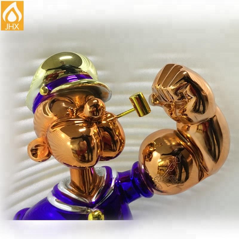 True Factory Direct Price OEM Modern Fiberglass Resin Popeye Sculpture Car Mirror Gold Chrome Effect Spray Paint For Decoration