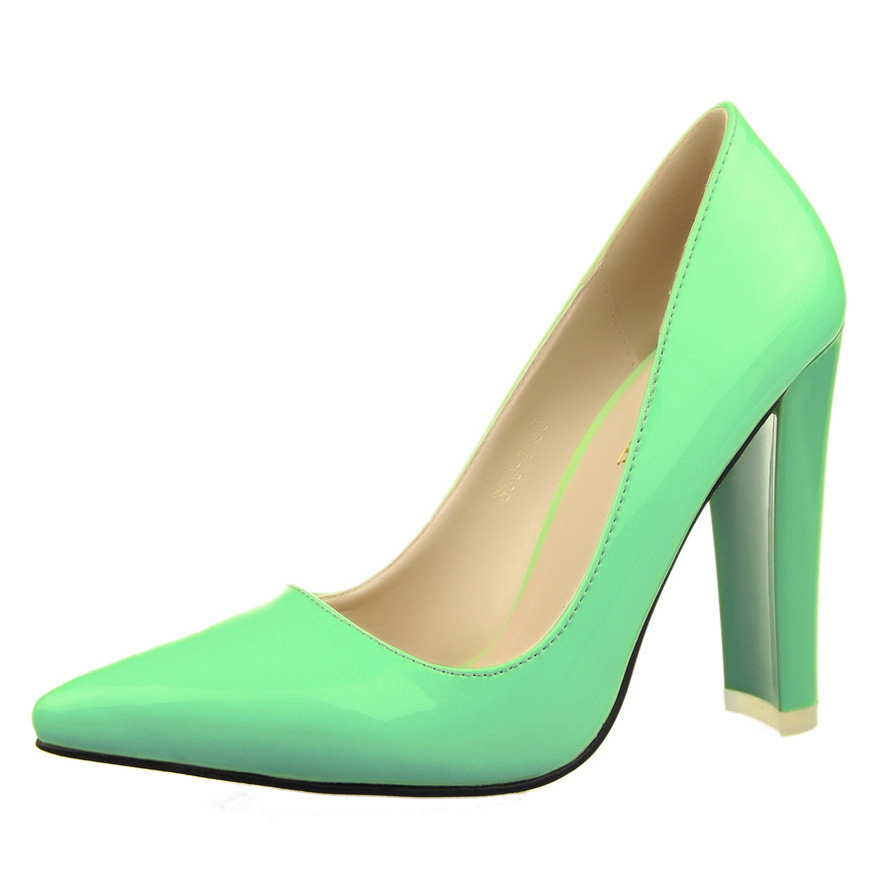 2411583d50180 Get Quotations · Fashion Elegant Patent Leather Square Heel Pointed Toe  Medium Split On PU Women Summer Party Shoes
