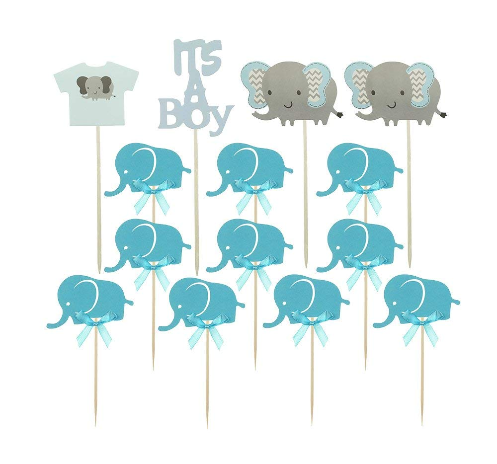Ucity Baby Shower Cupcake Toppers Blue Baby Elephant Cake Picks Decorations for It's A BOY Birthday Themed Party Decorations Supplies