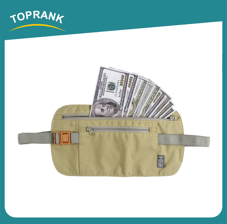 Toprank Unisex Sport Running Travel Belt Money Nursing Waist Bag RFID Blocking Wallet Pocket Pouch Waterproof Travel Waist Bag