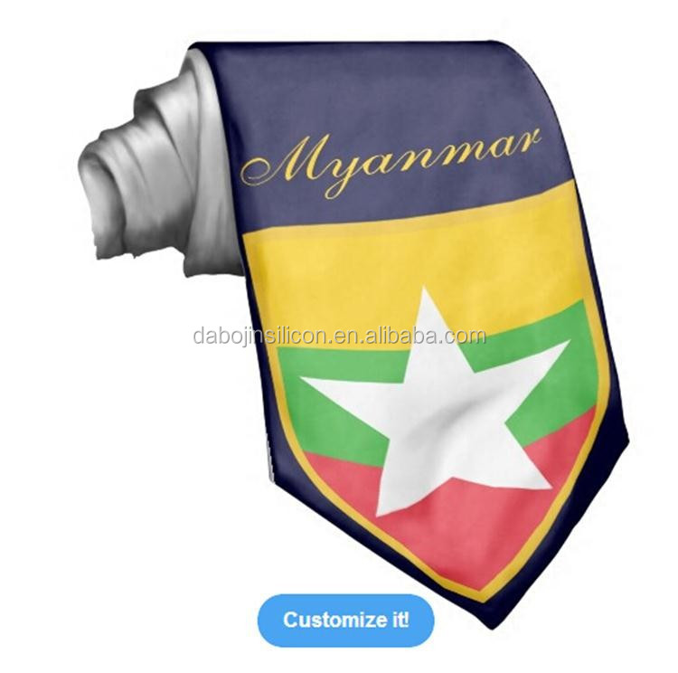 Cheap for men with custom logo 100% silk Myanmar flag <strong>tie</strong>