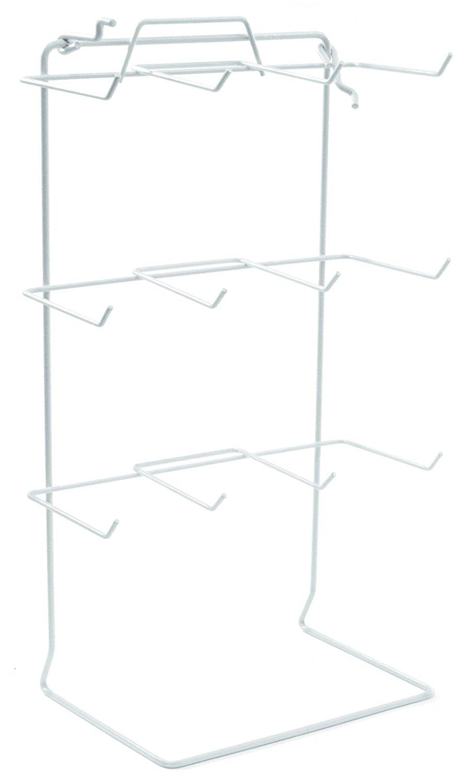 "KC Store Fixtures A24306 Countertop Rack, Fits Slatwall/Pegboard, 12 Peg, 17-1/2"" Height x 10"" Width x 6.5"" Depth, 4-1/2"" Long Hooks, White (Pack of 2)"