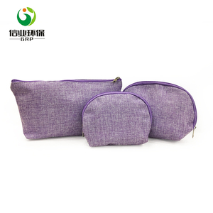 custom 3pcs zipper organizer purple makeup hemp jute cosmetic bag