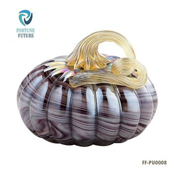 Moden Halloween Gifted Hand Blown Glass Craft Wholesale Artificial Pumpkins to decorate