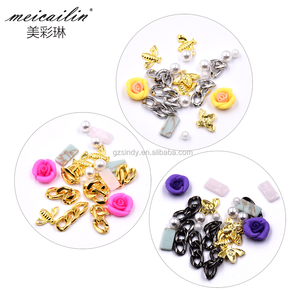 Pot of Metal chain and flower decoration Alloy Golden Sticker for Nail art decoration