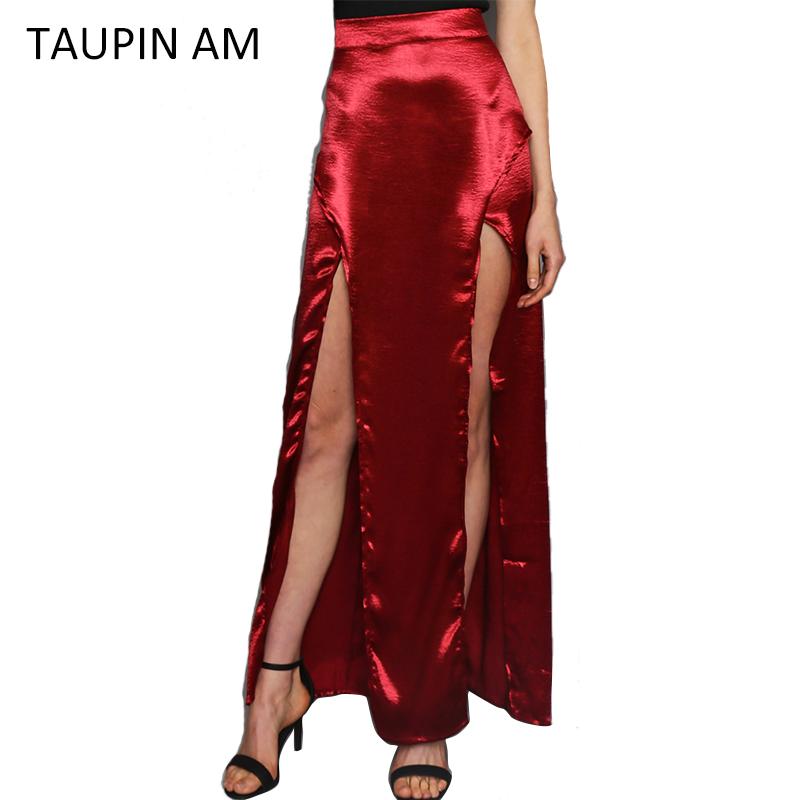 Black Satin Long Skirt 31