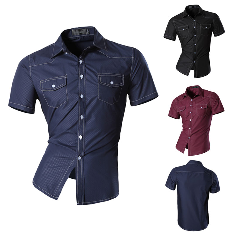 08f8e625720 Best Sell New Men s Fashion Short Sleeves Button Down Dress Shirts Slim Fit  Casual Double Pocket Shirts Top Z028-in Casual Shirts from Men s Clothing  ...