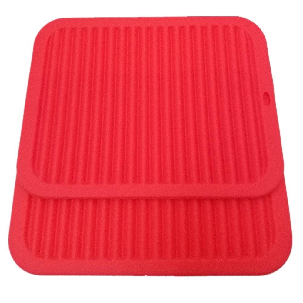 "Smithcraft Silicone Trivets mat set 9""X12"" Big Size Multi-purpose Drying Trivet Mat, Pot Holder, Waterproof, (Set of 2) Non Slip, Flexible, Durable, Dishwasher Safe Red"
