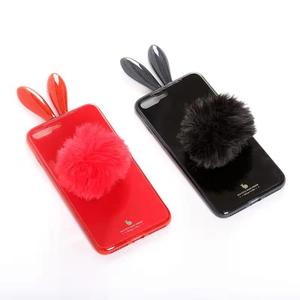3d Lovely Rabbit ear Glass Phone Case For xiaomi mi A2 lite mi 8 lite anti gravity phone case