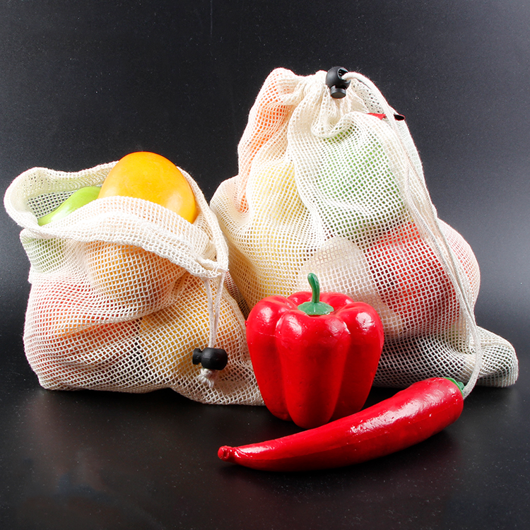 Best Reusable Mesh Produce Bags from 100% Organic Cotton Vegetable and Fruit Eco Friendly mesh pouch calico linen cotton bag