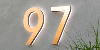 3D LED backlit brushed stainless steel house number with blue light letters