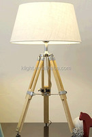 Modern table/desk Lamp tripod adjustable wooden base with fabric lampshade