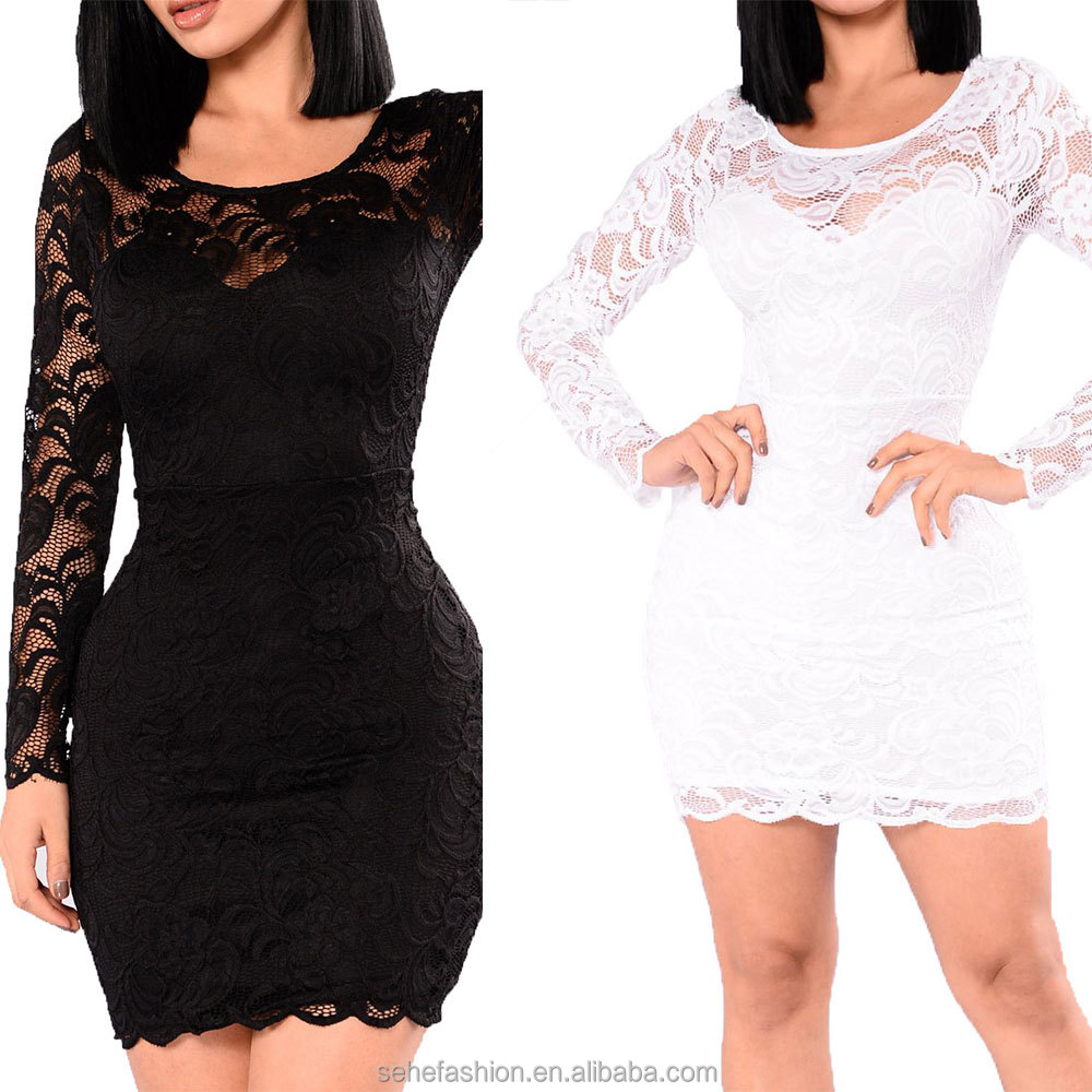 SM93057 body fit lady long sleeves elegant lace dress