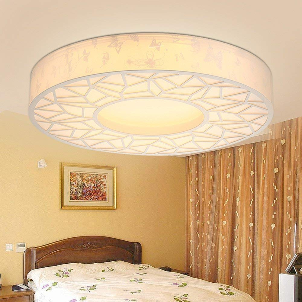 DIDIDD Ceiling light- led dimming color round iron ceiling lights bedroom living room light creative ceiling lights (light color optional) --home warm ceiling lamp
