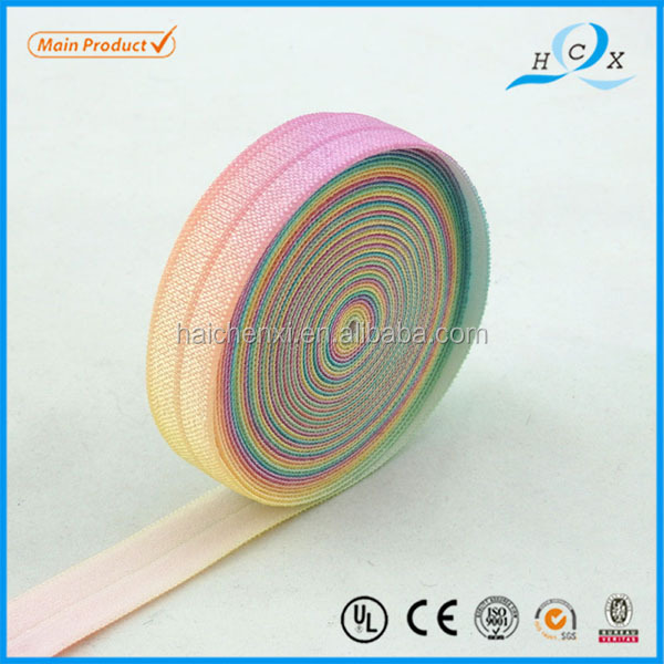 Rainbow elastic band custom printed webbing