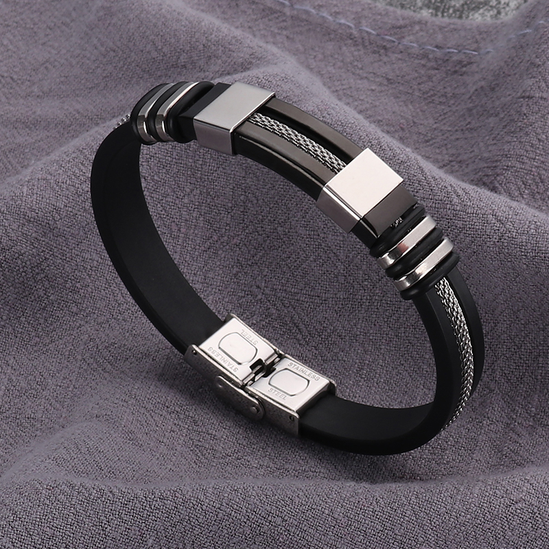 2018 New Design Stainless Steel Silicone Rubber WristBand  Bracelet Men