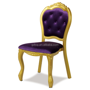 Popular Gold Aluminium Banquet Wedding Event Stacking Morocco Louis Restaurant Chairs