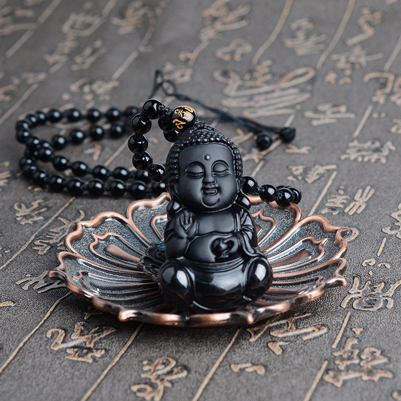 Wholesale Scrub Black Natural Obsidian Stone Pendants Three-dimensional Small Buddha Necklace Lucky Women Men Fashion Jewelry