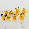 8pcs lot Anime Pikachu Pichu PVC Figure Kawaii Pendants Cute Model Toys Keychain Free Shipping