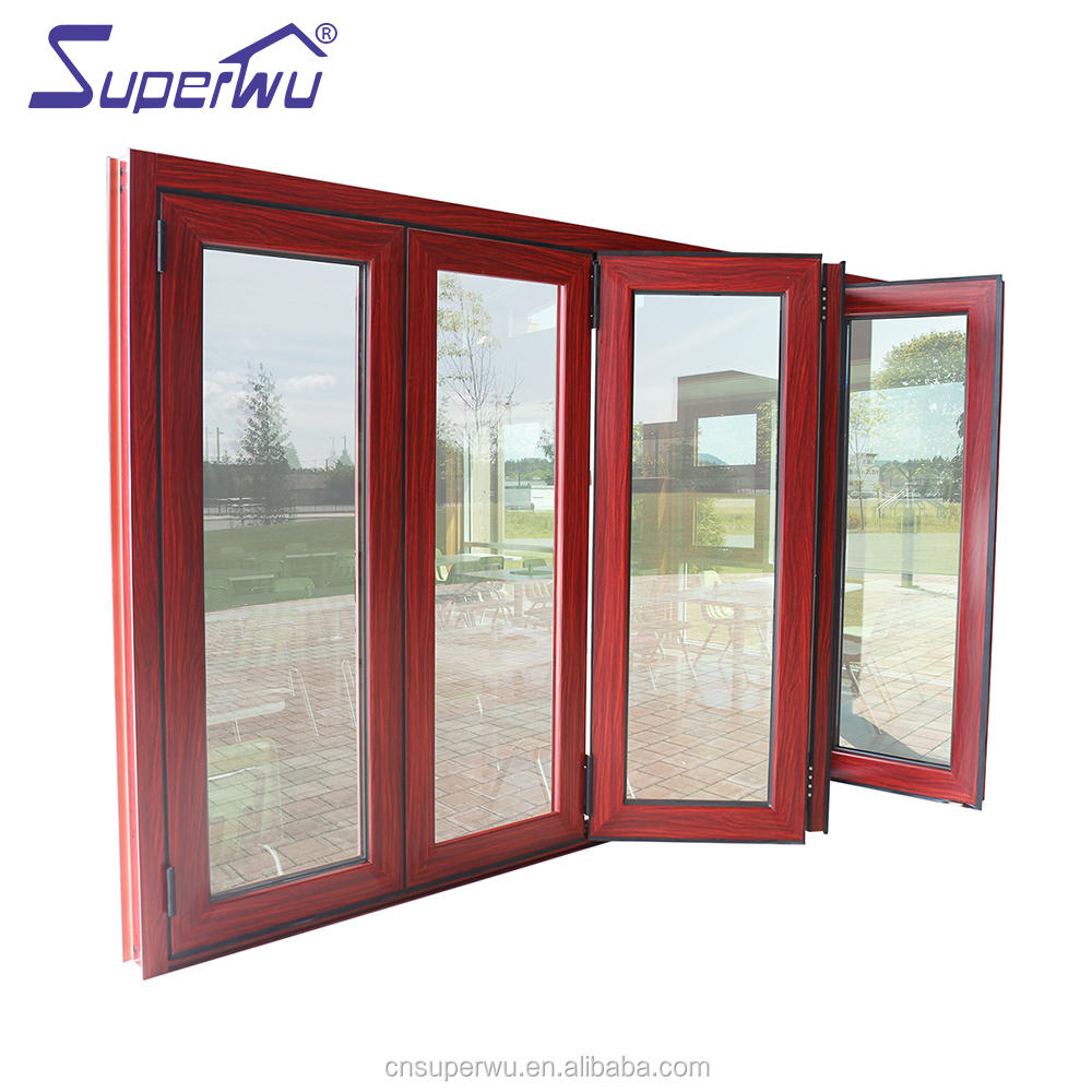 Special Offer thermally broken storm alu glass windows soundproof black aluminum fold window