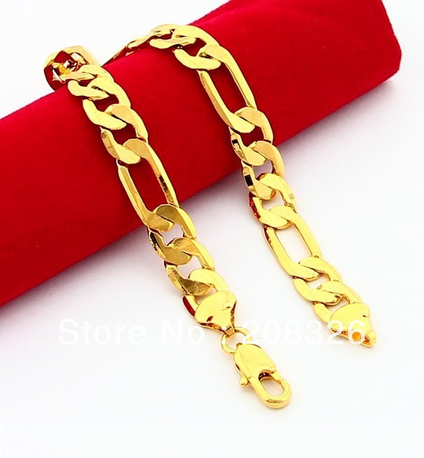Get Quotations Hb16 8mm Figaro Chain Bracelets Men S 24k Gold Plated Bangles For