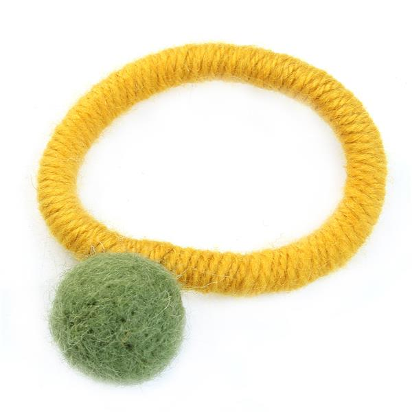 Accessories Pom Ball Green Elastic Band Hair Ties