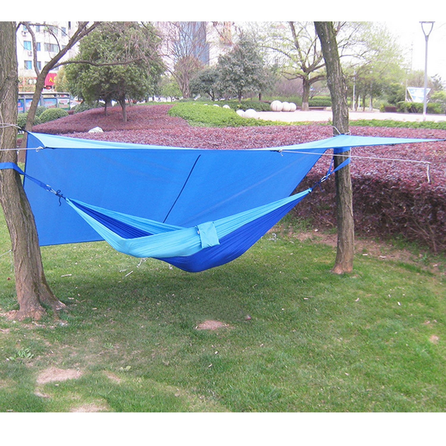 HMLifestyle-Large Rain Tarp Shelter Waterproof Hammock Tarp Lightweight for Camping Tent Tarp,Sunshade Hammock Rain Fly10x10 Ft with Carry Bag (Blue)