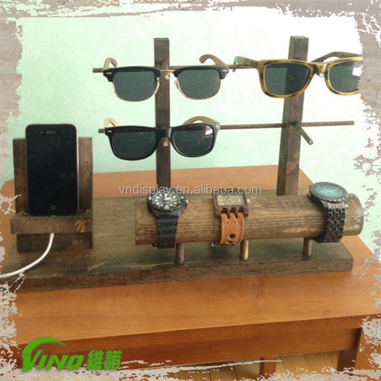 Handmade wood pocket watch cell phone holder,mobile store display stand,desktop wrist watch stand,custom sunglasses display rack
