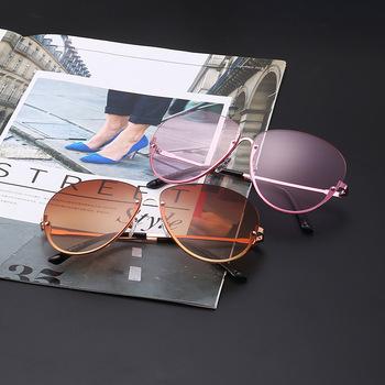 3ad011e6b25 Unique Gradient Vintage eyeglasses transparent Sun Glasses Women Rimless  Oversized Clear Shades lunettes Sunglasses Female