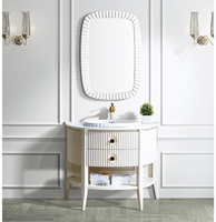 Open shelf marble bathroom cabinet, wave shape bathroom cabinet with one drawer