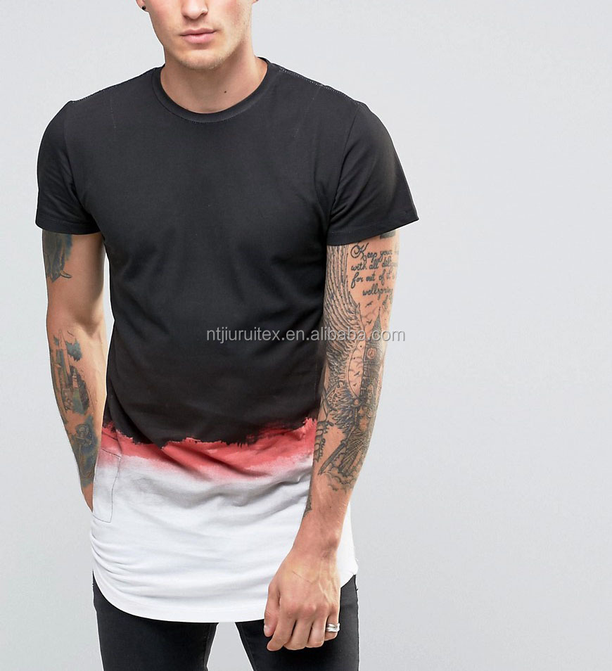 Longline T-Shirt With Curved Hem and Gradient Paint
