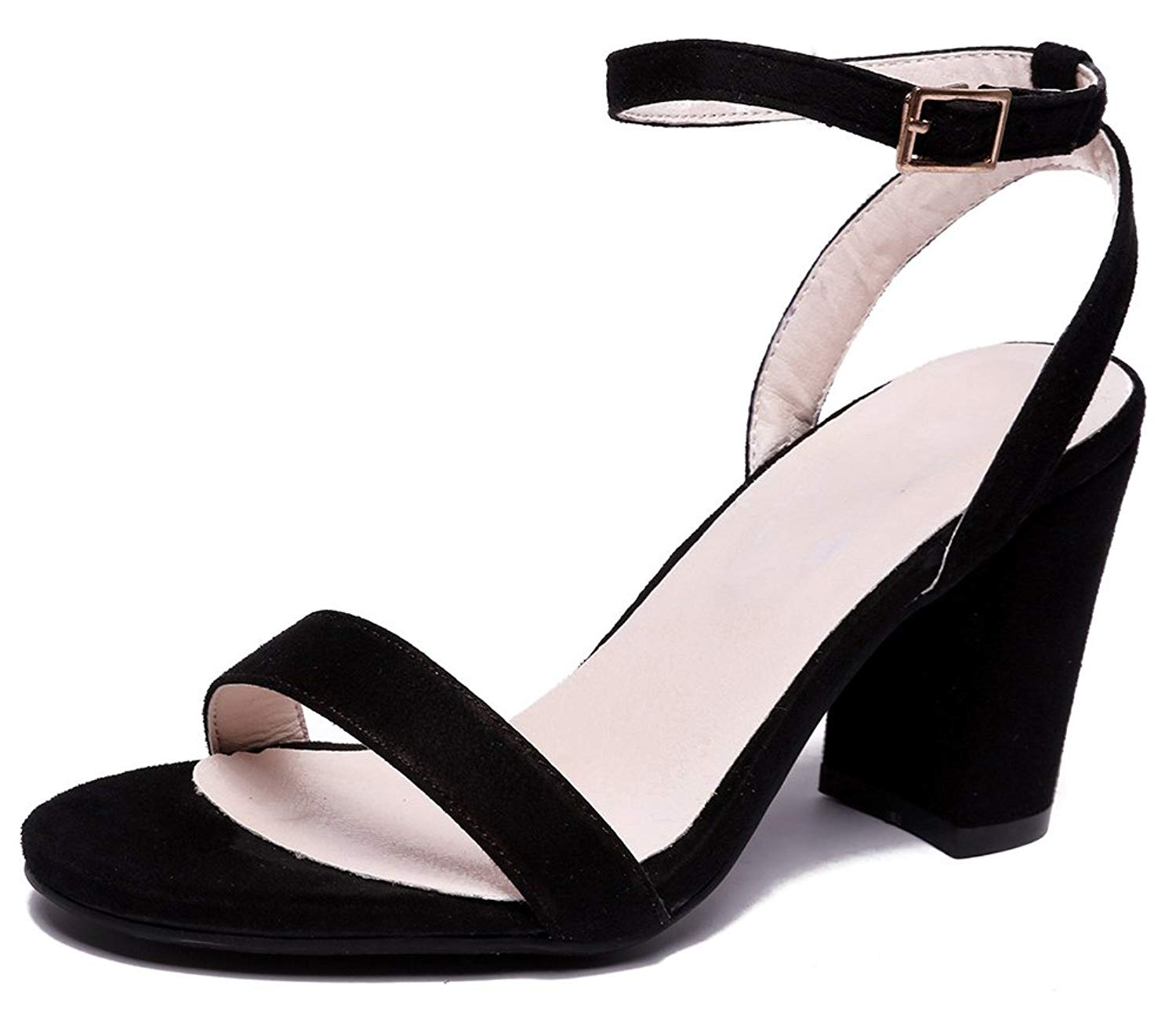 0f36aa1a6a4 Get Quotations · SFNLD Women s Classic Open Toe Cut Out Ankle Strap High  Block Heels Sandals