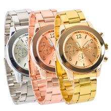 New 2015 Women Dress Watches Geneva Stainless Steel wristwatch women Rhinestone Watch Luxury Casual Relogio Men Quartz watch