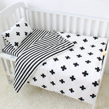 Plain color organic 100% cotton soft boy girl crib baby blanket quilt pillow cover 3 piece cot bedding set