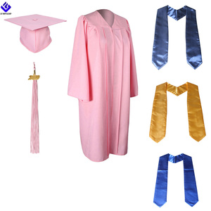Wholesale Pink Matte Graduation Gown And Cap And Stole