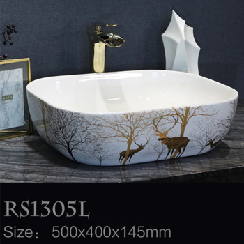 Toilet Wash Face Modern Patterned Ceramic Table Top Bathroom Sink