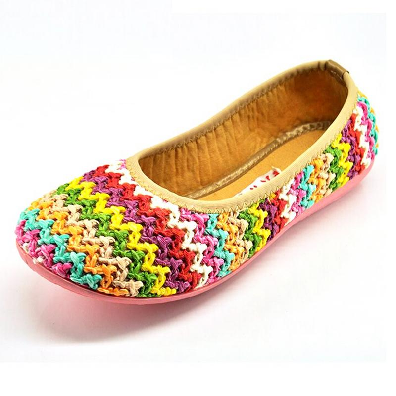 cba313579e5a Get Quotations · Women Hand-woven Rainbow Flat Shoes Striped Mixed Color Round  Toe Sapatilhas Femininas Breathable Casual