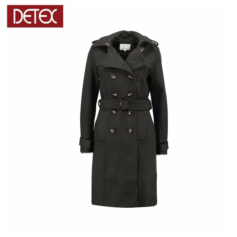 China Wholesale OEM Girls Wool Fabric Long Trench Coat