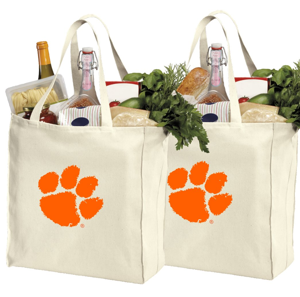 d27fea4621 Get Quotations · Reusable Clemson University Shopping Bags or Clemson Tigers  Grocery Bag 2Pc SET COTTON