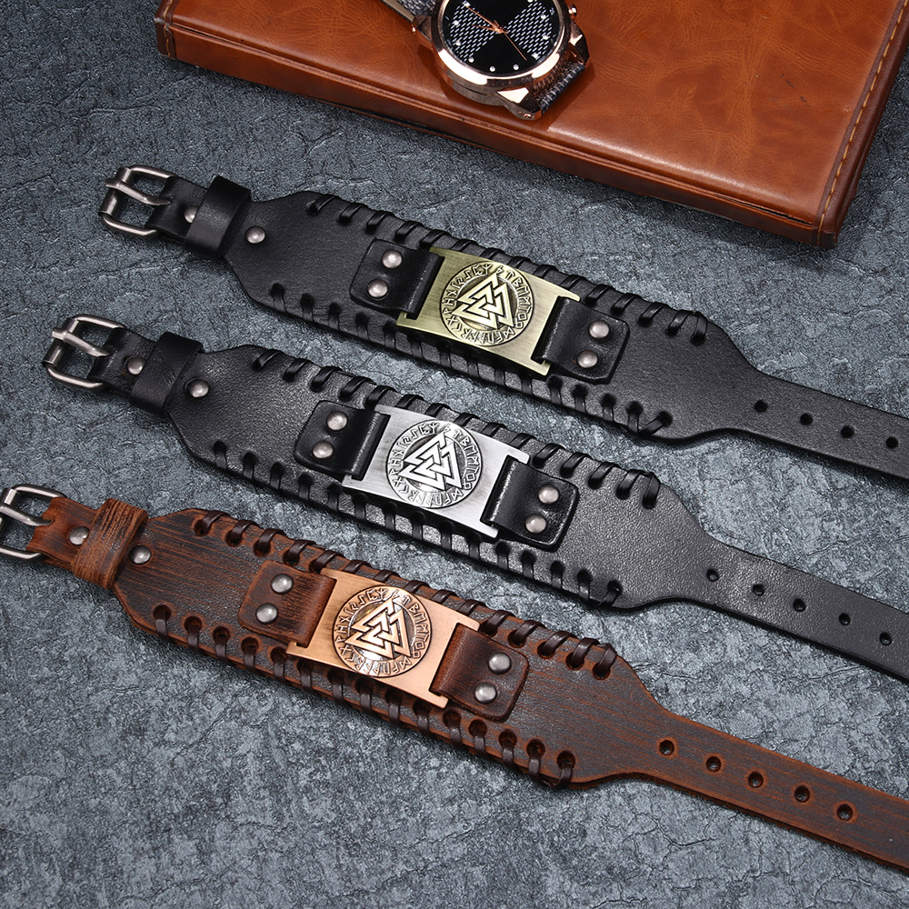 Mens Copper Metal The Viking Style 3 Triangles Embossed Wide Genuine Leather Bracelet with metal buckle adjustable