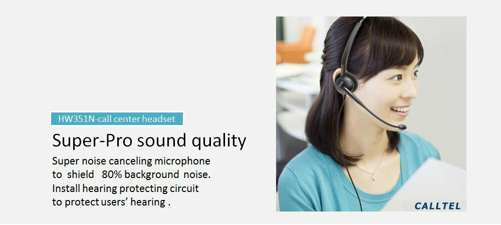 Calltel HW351N call center headset noise cancelling headset with QD connector