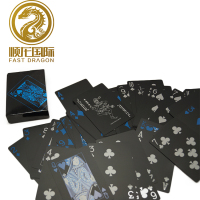 High Quality Waterproof Plastic Pvc Black Playing poker Cards Blue Color Poker Card Sets