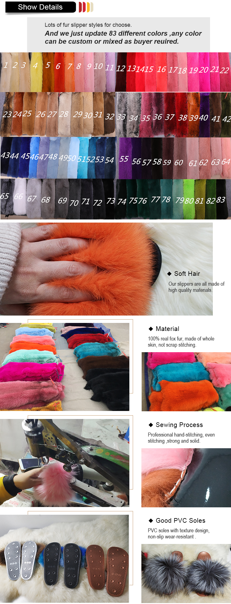Fashion Styles Soft Fluffy Custom Color Real Fox Slippers