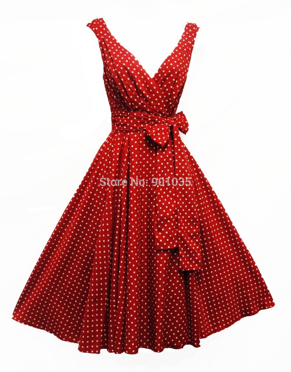 Get Quotations · Free Shipping New Ladies Vtg 1950s style Red Polka Dot  Rockabilly Summer Swing Tea Dress c30bdb92d6d7