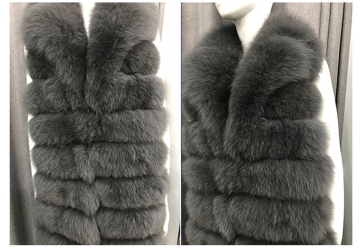 100% True genuine long real teal fox fur vest sale