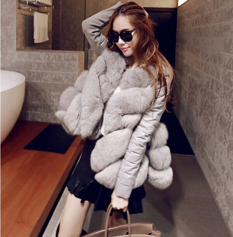 2015 font b winter b font plus size one piece fur outerwear female medium long fox